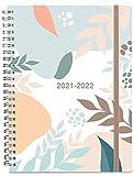 2021-2022 Tagebuch, A5-Wochenplaner mit Monatsregistern, Rücktasche, elastischer Verschluss, flexibler Einband, Doppeldrahtbindung, einfache Organisation des täglichen Lebens, 14,8×21cm, Blätter