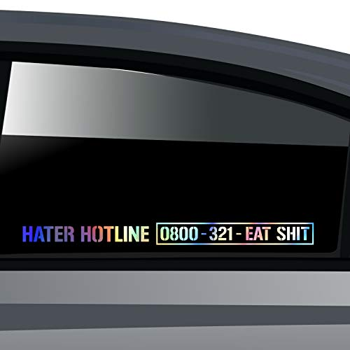 PrintAttack Aufkleber 2er-Set Car Styling 40 cm in 15 Hater Hotline | Klebefolie | Fun | Sticker | Autoaufkleber | Decal | Tuning | Carstyling | Autosticker (Hologramm Folie)
