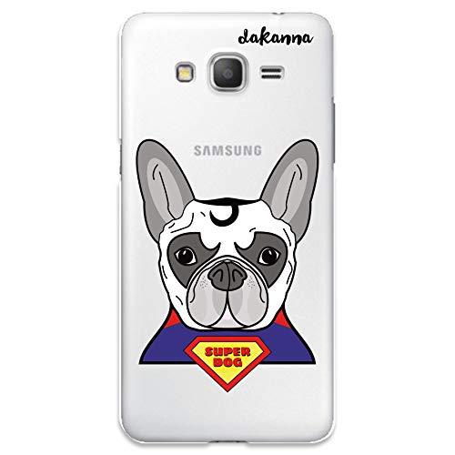 dakanna Funda Compatible con [Samsung Galaxy Grand Prime] de Silicona Flexible, Dibujo Diseño [Perro superhéroe Estilo Comic], Color [Fondo Transparente] Carcasa Case Cover de Gel TPU para Smartphone