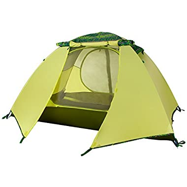 WolfWise 2-Person 3-4 Season Backpacking Tent with USB LED Light String Green