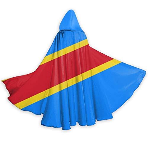 Tiffany Church Capa Capa de Adulto para Halloweenn Bandera de la República Democrática del Congo Traje Largo Unisex Disfraz de Halloween Capa de Uniforme Capa de Halloween 150CM