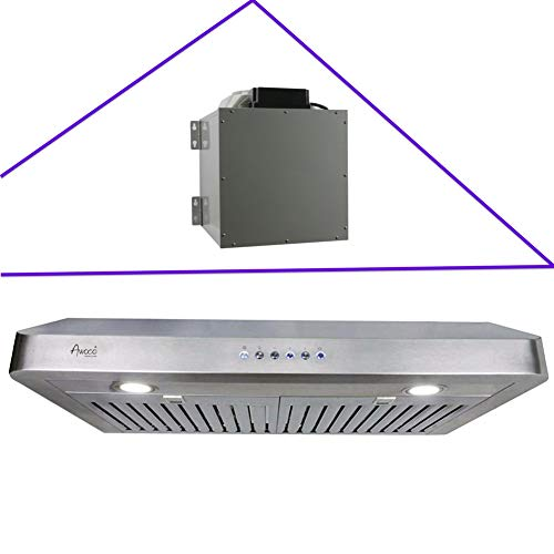 Awoco RH-R06 Rectangle Vent 6' High Stainless Steel Under Cabinet 4 Speeds 900CFM Range Hood with LED Lights (30'W Rectangle Vent)