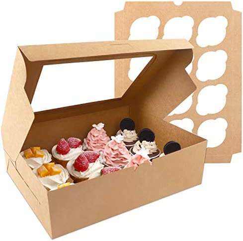 Moretoes Cupcake Boxes 20 Packs Brown Cupcake Carrier Food Grade Kraft Bakery Boxes with Windows product image