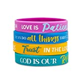 Religious Silicone Bracelets Kids, Motivational Christian Wristbands (24 Pack)
