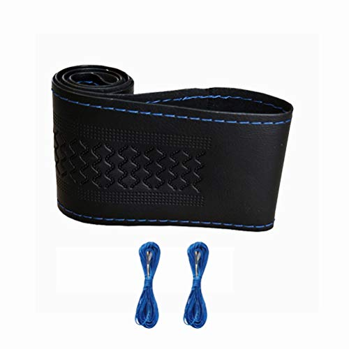 ZATOOTO Funda Volante Cuero Fundas Volante Cosida, Cubierta Volante Cuero Cosida de 37-38.5cm con Aguja e Hilo, Negro con Hilo Azul