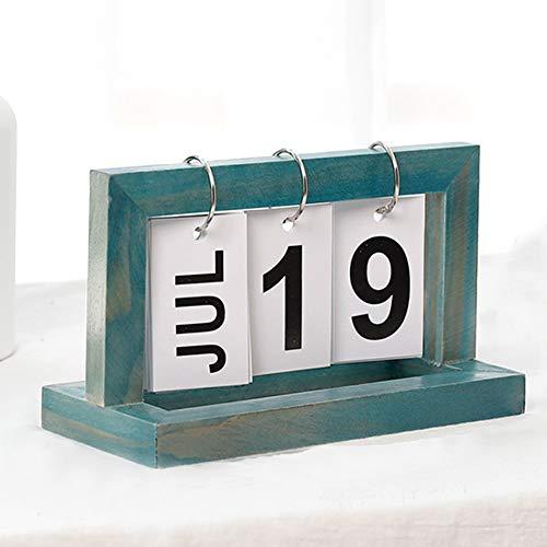 XHXseller - Calendario de madera estilo vintage, calendario de madera con tapa y calendario manual de escritorio, estilo rústico para oficina, decoración vintage