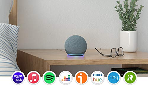 Echo Dot (4.ª generación), Azul grisáceo + Amazon Smart Plug (enchufe inteligente WiFi), compatible con Alexa