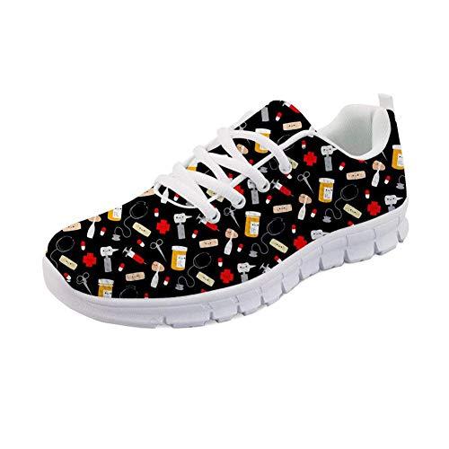 Showudesigns Damen Laufschuhe Sportschuhe Bequeme Air Laufschuhe Schnürer Running Shoes Mode und Freizeit Nurse Print - Größe: 38