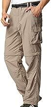Mens Hiking Pants Convertible Quick Dry Lightweight Zip Off Outdoor Fishing Travel Safari Pants (225 Khaki 36)