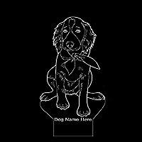 WANQINGW Setter irlandés Cachorro Forma Diseño moderno Brillante LED Luz de noche Personalizar Nombre Decoración para el hogar Mascota Perro Animal Lindo Humor Lámpara de mesa