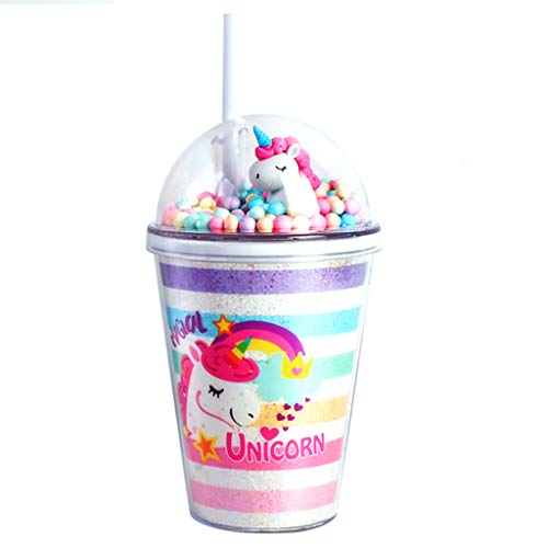 Botella de agua para niños, diseño de unicornio, con purpurina y doble pared, taza de viaje con tapa y pajita, 380 ml, reutilizable, libre de BPA, para fiestas de verano y regalos (A)