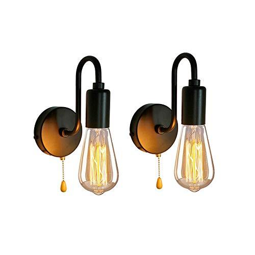 Industrie Wandlampe 2Pack, Vintage Retro Wandleuchte mit Zugschnur Schalter Edison E27 Lampenfussung Metall Halterung Industrielampe für Home Bar Loft Schlafzimmer,B
