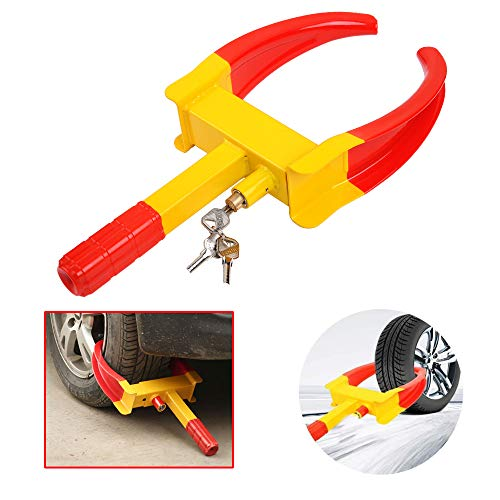 Fei Wheel Lock Clamp Anti-Theft Towing Parking Boot Tire Claw Heavy Duty Adjustable for Auto Car Truck Trailer Automotive Golf Carts with Three Keys