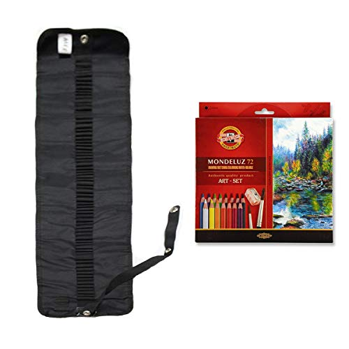 Koh-I-Noor MONDELUZ 3720-72 + 3714 - SET con bolsa para lápices y 72 lápices de acuarela + 2 pinceles y un sacapuntas, para autocompletar