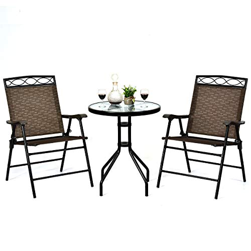 dining set with foldable chairs Giantex Patio Dining Set Round Glass Table with 2 Patio Folding Chairs, Outdoor Table and Chairs for Garden, Pool, Backyard, Tempered Glass Tabletop with Umbrella Hole (Brown)