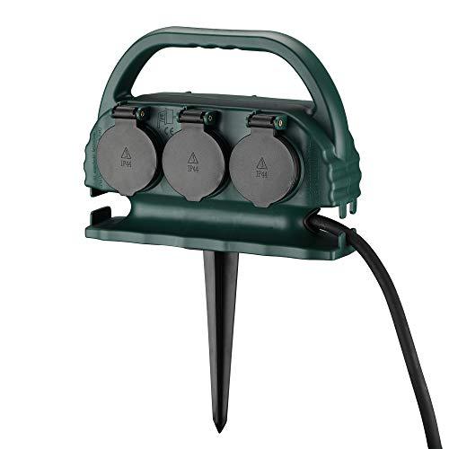 XUANSHI 6-fach Garten-Steckdose IP44 mit Tragegriff und Erdspieß, wasserfeste Außensteckdose mit H07RN-F Gummi Kabel (5m, grün)