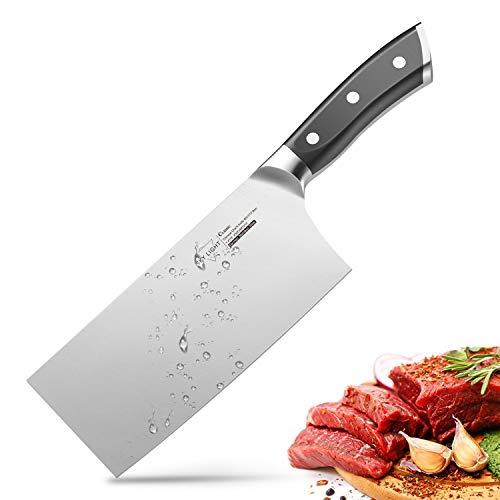 SKY LIGHT Chinesisches Kochmesser Hackmesser Küchenmesser 18cm China Messer Hackbeil aus Deutscher Hochgekohlter Edelstahl mit Scharfer Klinge für Küche, Mehrzwecknutzung und Restaurant