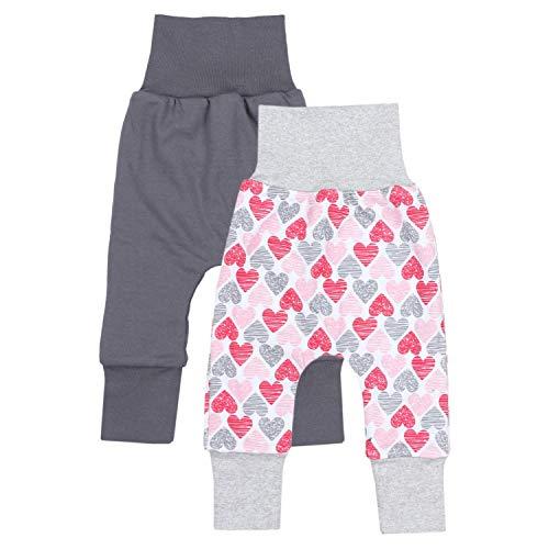 TupTam Baby Mädchen Mitwachshose 2er Pack, Farbe: Farbenmix 3, Größe: 56-62