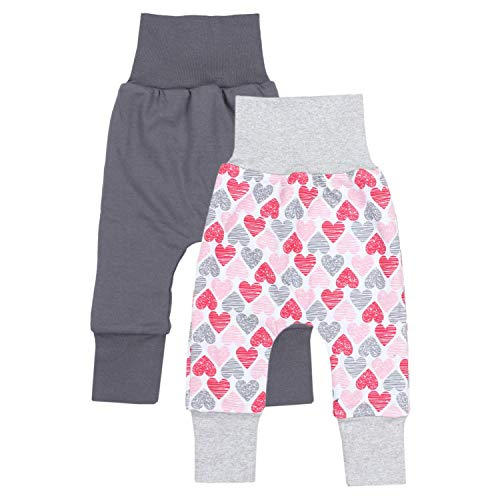 TupTam Baby Mädchen Mitwachshose 2er Pack, Farbe: Farbenmix 3, Größe: 80-86