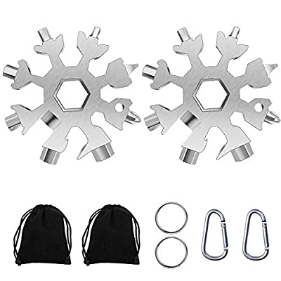 Snowflake Multitool,2 Pcs 18-in-1 Snowflake Standard Multi Tool, Stainless Steel Snowflake Wrench with Storage Bag, Key Ring and Carabiner Clip(Silver)