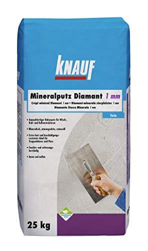 Knauf 5783 Mineral Diamantputz Mineralputz Diamant 1,0-mm Körnung – mineralischer Dekor, Decken, Wand-Belag oder Außen-Putz, Kratzfest und witterungsbeständig, Weiß, 25-kg