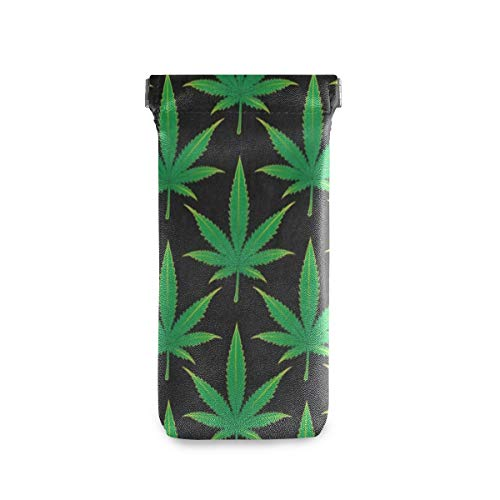 Soft Anti-Scratch Glasses Case Cannabis Mariguana Leaf Portable Squeeze Top Leather Eyeglasses Pouch Sunglasses Bag