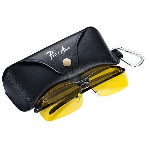 Pro Acme Night Vision Glasses with Polarized Lens Unisex Anti Glare Safety Night Driving Glasses