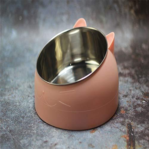 Cuenco para mascotas de preservación del cuello de acero inoxidable Cuenco de comida para gatos Ángulo de inclinación de 15 grados Estable redondo inferior anti-salpicaduras 21.5 * 21.5 * 12cmcm (304)