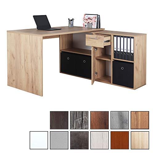 RICOO WM081-EG, Schreibtisch, Holz Eiche Gold, Winkelkombination, Arbeitstisch, Bürotisch, Computertisch, Eckschreibtisch, Akten Schrank Lowboard