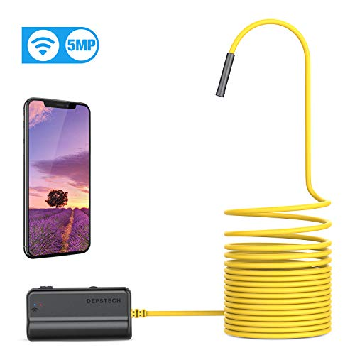 WiFi Endoscoop, DEPSTECH Endoscoopcamera 5.0 Megapixel 1944P HD Inspectiecamera met 2600mAh Batterij Semi-rigide Snake Camera Brandpuntsafstand 40 cm voor Android, IOS, iPhone, Smartphone, Tablet 5M