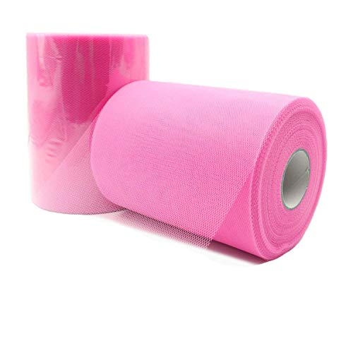 JZK 6 Inch X 100 Yards, Roze Tule Netting Stof Roll Spool voor Party Tulle Tafel Rok Tutu Jurk Bruiloft Auto Decoraties Tule Boog voor Stoel