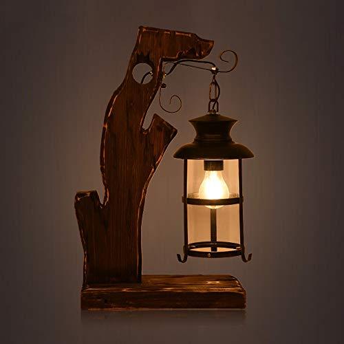 SXNYLY American Loft Retro nostálgico lámpara de cabecera de cabecera lámpara de Tabla Creativa salón lámpara de la Cama decoración de Madera sólida for la iluminación LED Barra del café