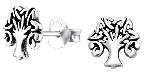 Hypoallergenic Sterling Silver Celtic Tree Of Life Tiny Stud Earrings (Nickel Free)
