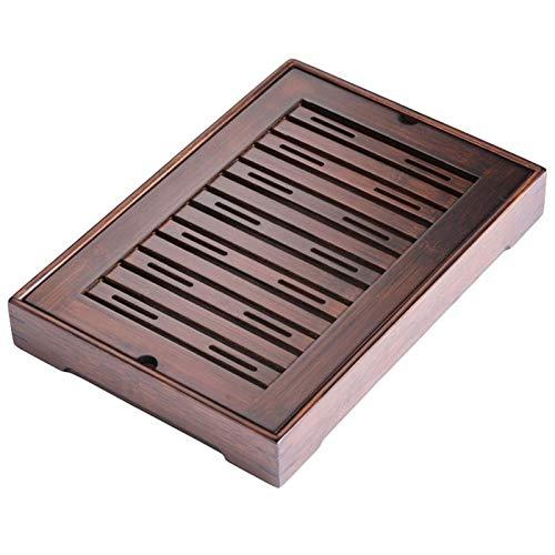 WANZSC 1 bandeja de servicio de mesa de té de bambú bandeja de té, accesorios rectangular bandeja de almacenamiento tipo bandeja simple bandeja de almacenamiento de cosas de té (35 x 23 x 6,2 cm)