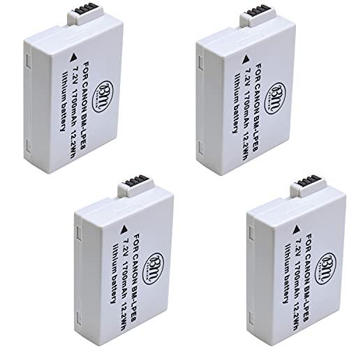 BM Premium 4 Pack of LP-E8 Batteries for Canon EOS Rebel T2i, T3i, T4i, T5i, EOS 550D, EOS 600D, EOS 650D, EOS 700D DSLR Digital Cameras