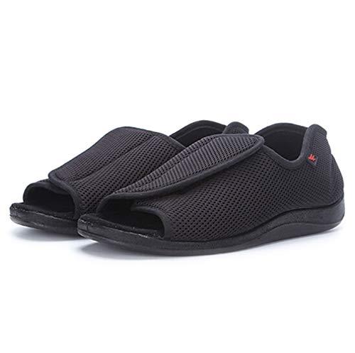 介護シューズ メンズ 介護靴 滑り止め 転倒防止 リハビリ靴 ルスケア靴 奇形 足腫れ ふくらん 外反母趾を改善 圧力を軽減 つま先オープン かかと付 低反発 マジックテープで調節可能 ルームシューズ 室内履き 中年 高齢者 夏 ブラック