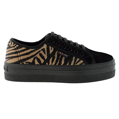 Victoria Zapatillas 09208 - Blucher Print Animal Plataforma Mujer, Color Negro, Talla 39