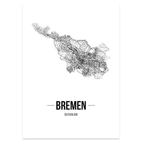 JUNIWORDS Stadtposter, Bremen, Wähle eine Größe, 30 x 40 cm, Poster, Schrift B, Weiß