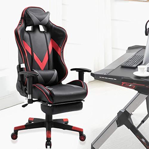 creatspaceIT Sedia Gaming Sedia da scrivania Sedia da Ufficio Sedia direzionale Sedia Girevole ergonomica Sedia per Computer Similpelle con poggiatesta e Cuscino in Pelle (Rosso 04)