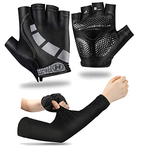 Snailrun Cycling Gloves and Cooling Arm Sleeves for Men Women,Bicycle Bike Gloves Anti Slip Shock Half Finger Gloves UV Sleeves Cover for Men Arm Warmers for Running, Football, Basketball, Golf