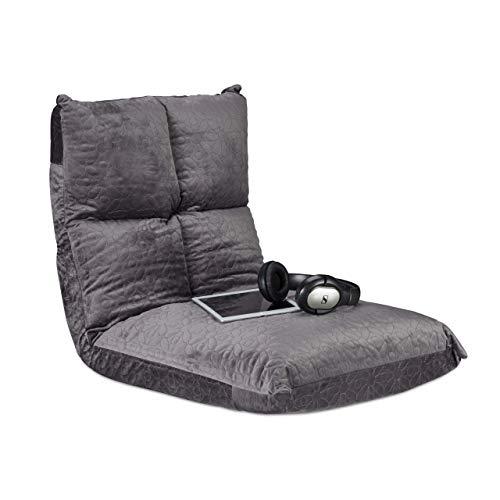Relaxdays Bodenstuhl mit Rückenlehne, verstellbares Bodenkissen, 6 Positionen, Yoga, Gaming, klappbar, bis 100 kg, grau
