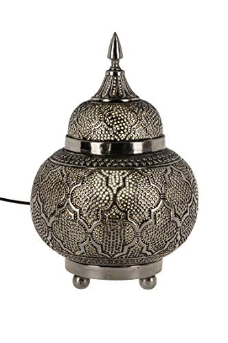 Orientalische Messing Tischlampe Lampe Huriye 28cm in Silber | Marokkanische Tischlampen klein Lampenschirm silberfarben | kleine Nachttischlampe modern für Vintage Retro & Landhaus Stil Design
