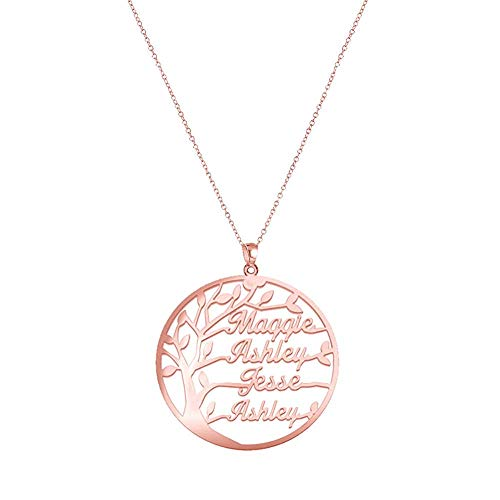 Gaosh Name Necklace 925 Sterling Silver - Personalized with Your Own 4 Names with Tree of Life Any Name for Women Birthday Valentines Day Anniversary Women Jewelry (Rose Gold)