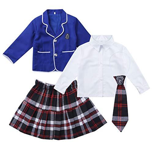 winying Mädchen Schulmädchen Uniformen Revers Jacke Langarm Hemd Bluse Oxford...
