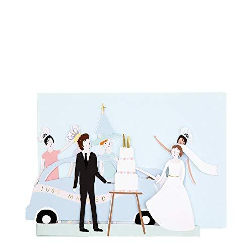 Meri Meri, Just Married Ziehharmonika-Karte, Hochzeit, Verlobung, Grußkarte