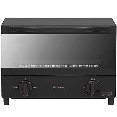 アイリスオーヤマ オーブントースター ブラック 2枚焼き ミラーガラス パンくずトレー付きスチームトースター 1000W KSOT-011-B