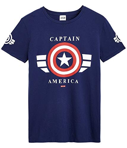 Marvel Camisetas Hombre, Ropa Hombre 100% Algodón, Camisetas Manga Corta Hombre con Escudo Capitan America, Camiseta Azul Marino de Los Vengadores, Regalo Original Hombre Adolescentes (XL)