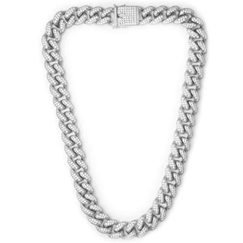 TRIPOD JEWELRY Hip Hop 12mm White Gold/18K Gold Plated Iced Out Miami Cuban Link Chain Bracelet Simulated Diamond Iced Out CZ Cuban link Choker for Mens Cuban Chain Necklace (White Gold - 12mm, 20.00)