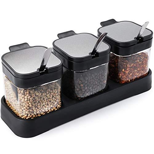 WUWEOT Set di 3 Barattoli per Spezie in Vetro 220ml Condimento Box Spezia Jar Cucina Vasi per Spezie Scatola di Spezie Contenitori per Spezie e Condimenti con Coperchio Cucchiaio e Supporto