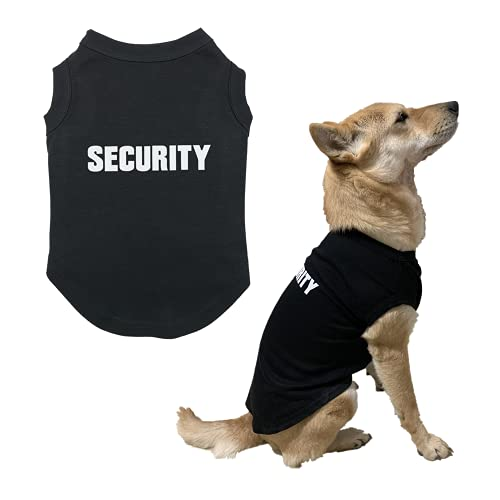[Upgraded] DAJIDALI Security Dog Shirt Clothes for Pet Puppy T-Shirts Dogs Costumes Cat Clothing Vest(XXL, Black)
